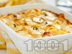 Картофи огретен със сурови картофи без варене, течна сметана и билки - розмарин, риган, мащерка на фурна - снимка на рецептата
